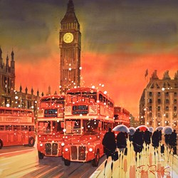 Dusk On The Bridge, London by Peter J Rodgers - Original Painting on Paper sized 20x20 inches. Available from Whitewall Galleries